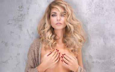 Beauty portrait of blonde sensual woman.