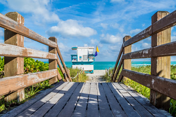 On a wooden pier to lifeguard stand of Miami beach Florida
