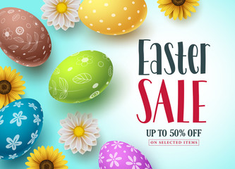 Easter sale vector banner design with colorful eggs and flowers for shopping discount promotion. Easter background template with space for text. Vector illustration.