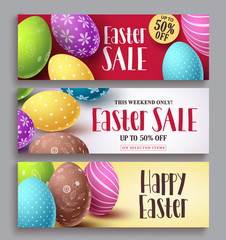 Easter sale and happy easter vector banner design set with colorful eggs elements. Easter design template collections for greeting card and discount promotions. Vector illustration.