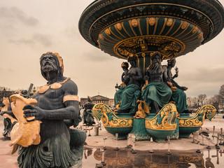 Detail of the Place de la Concorde fountain, Paris.