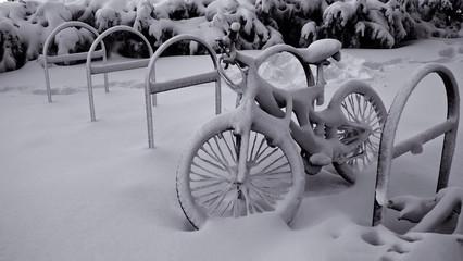 bike buried in snow
