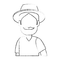 man gardener with hat avatar character vector illustration design