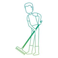 man gardener with rake avatar character vector illustration design