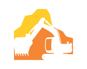 excavator excavation heavy machinery builder image vector icon logo 3