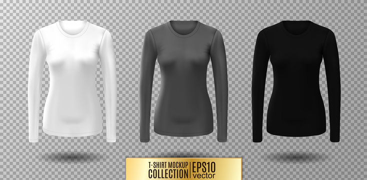 Long sleeve blank shirt. Vector white, gray and black shirt mockup.