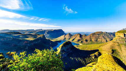 View of a Sunset over Blyde Caniyon Dam in the Blyde River Canyon Nature Reserve on the Panorama Route in Mpumalanga Province of South Africa