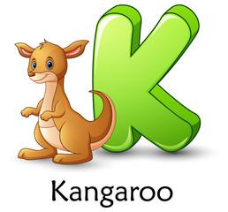 Letter K is for Kangaroo cartoon alphabet