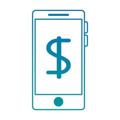 smartphone device with money symbol vector illustration design