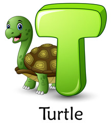 Letter T is for Turtle cartoon alphabet