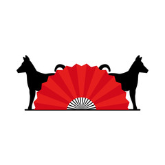 chinese fan with dogs vector illustration design