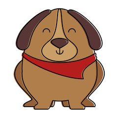 cute dog with scarf vector illustration design