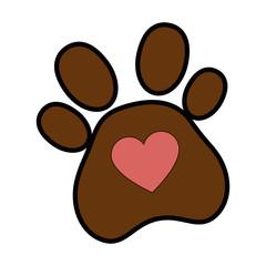 dog footprint with heart vector illustration design