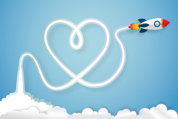 heart exhaust smoke of Rocket launch on clouds and blue sky as paper art, craft style, love and valentine's day concept. vector illustrator.