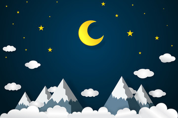 Half moon, clouds and stars in the night as paper art and craft style concept. vector illustrator.