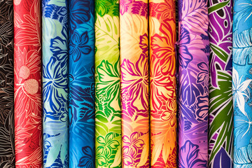 Rainbow Aloha Hawaiian Print Fabric on sale at the Swap Meet on Oahu, showing tropical hawaiian concept