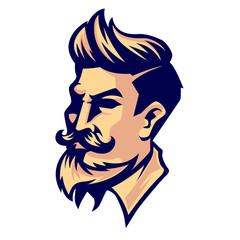 Hipster barber logo template