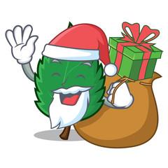Santa with gift mint leaves mascot cartoon