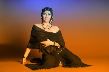 Middle eastern culture: belly dancer in black
