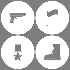 Vector Illustration Set Office Army Icons. Elements of Pistol Gun, Flag, military medal and military shoe boots icon