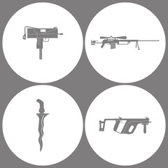 Vector Illustration Set Office Army Icons. Elements of UZI weapon, Sniper Rifle cheytac, Knife Cris and Rifle Kris V gun icon