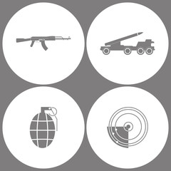 Vector Illustration Set Office Army Icons. Elements of AK47, Missile truck, Hand Grenade and Radar Icon icon