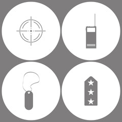 Vector Illustration Set Office Army Icons. Elements of Target, Two way radio, walkie talkie, military tag and Rank shoulder straps icon