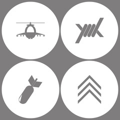 Vector Illustration Set Office Army Icons. Elements of military helicopter, Barbed Wire, Aviation Bomb and Military emblem rank  icon