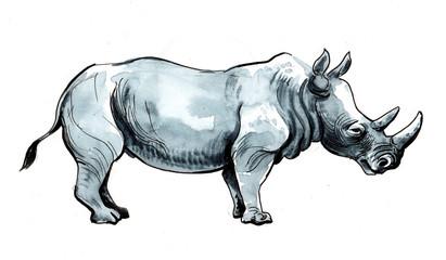 Watercolor and ink sketch of a big rhinoceros.