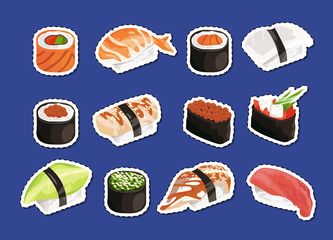 Vector cartoon sushi stickers set isolated