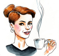 Pretty woman with a cup of tea