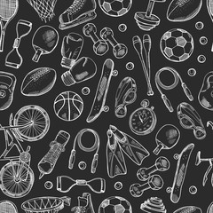 Vector hand drawn sports equipment pattern or chalkboard background