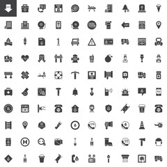 Emergency services vector icons set, modern solid symbol collection, filled style pictogram pack. Signs, logo illustration. Set includes icons as ambulance, firefighter, police, hospital