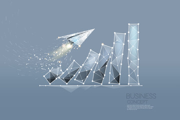 The particles, geometric art, line and dot of business graph.