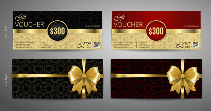 Gift Voucher set. Red and gold voucher template with a envelope. Vector