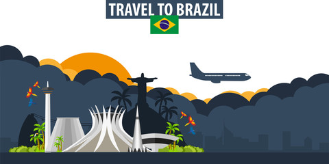 Travel to Brazil. Travel and Tourism banner. Clouds and sun with airplane on the background.