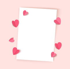 Empty white paper sheet isolated on pink background with decorative hearts for Valentines Day, Mothers day or wedding design. Vector illustration. Love template. Top view