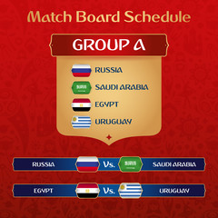 Football Tournament Match Board With Russian Ethnic Decoration Vector Illustration.