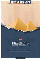 Travel to Egypt. Travel and Tourism poster. Vector flat illustration.