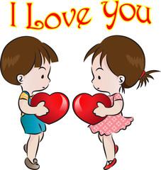 kids holding heart shape