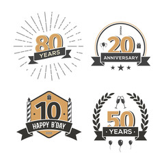 Collection of retro anniversary logo. Isolated vintage icons of holiday celebrating vector illustration