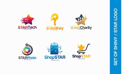 Star Tech logo, Star Pixel logo, Star Key symbol, Star Charity, Star photography, Shop Star logo designs vector illsutration
