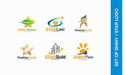 Nature Star logo, Star Law designs, Star Finance, Feather Star logo, Building, Shiny Paw logo designs vector