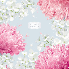 Chrysanthemums and Apple blossom floral vector background