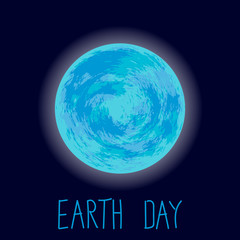 Earth Day Illustration. Planet Earth on dark blue