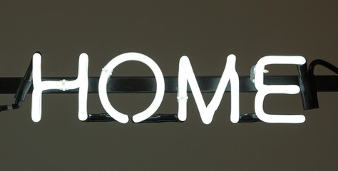 Neon sign spelling HOME