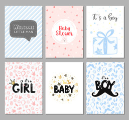 Vector set of 6 color baby shower cards for girls and boys. It's a boy card. It's a girl. Hello baby card. Vector invitation with cute pattern, balloon, gift. Baby arrival and shower collection.