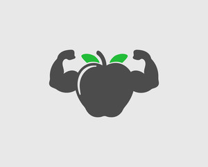Healthy Food Icon. Apple with Muscle symbol on Gray Background.