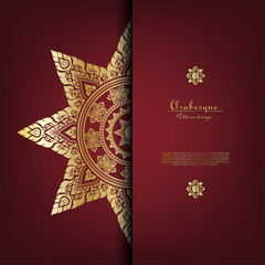 Arabesque Thai pattern gold background card template vector