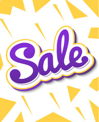 A colour banner for advertising sales. Bright shards on a white background. Bulk violet text Sale. Vector illustration of autumn sales.